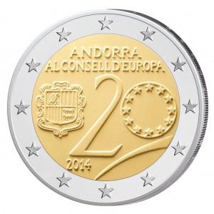 """Andorras erste 2 Euro-Gedenkmünze - 2014 """"20. Jahrestag Beitritt zum Europarat"""""""