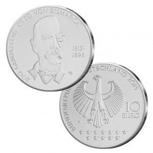 BRD 10 Euro 2015 200. Geburtstag Otto von Bismarck, st (CuNi, 14g, Ø 32,5mm), PP (625er Silber, 16g, Ø 32,5mm), Jaeger-Nr. 596
