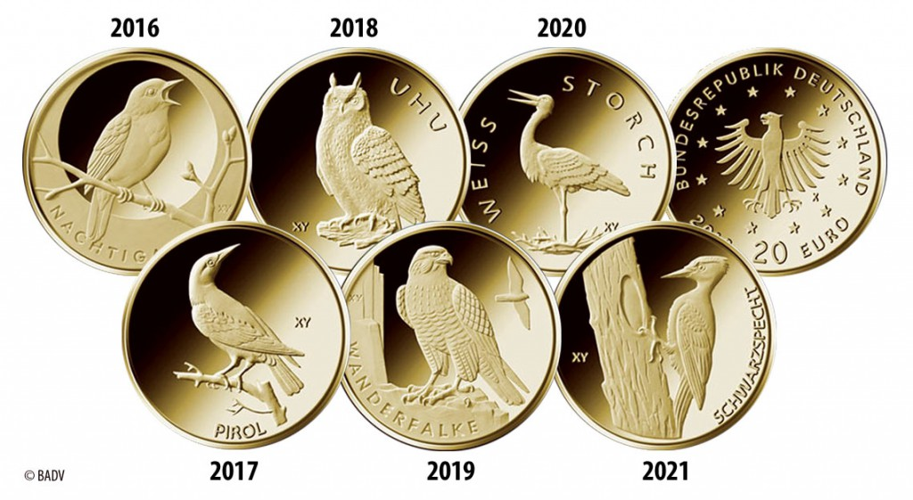 "Neue BRD 20 Euro Goldmünzen-Serie ""Heimische Vögel"""