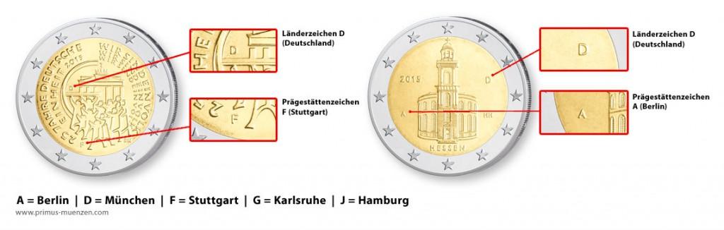 Prägestättenzeichen auf BRD Münzen, hier 2 Euro-Münzen
