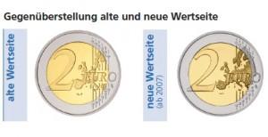 Gegenüberstellung alte und neue Wertseite von 2 Euro-Münzen