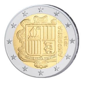 Beispiel für eine nationale Seite: die 2 Euro-Kursmünze aus Andorra