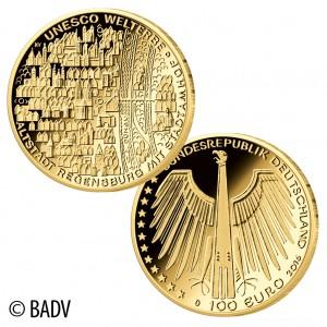 """BRD 100 Euro-Goldmünze 2016 """"UNESCO Weltkulturerbe – Altstadt Regensburg mit Stadtamhof"""""""