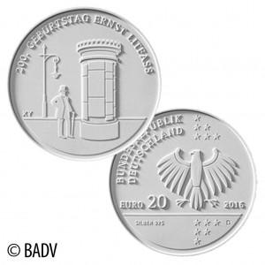 """BRD 20 Euro-Gedenkmünze 2016 """"200. Geburtstag Ernst Theodor Amandus Litfaß"""""""