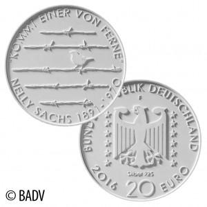 """BRD 20 Euro Gedenkmünze 2016 """"125. Geburtstag Nelly Sachs"""""""