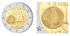 Auf der luxemburgischen 2 Euro-Gemeinschaftsausgabe 2007 Römische Verträge ist ein spezielles Latentbild