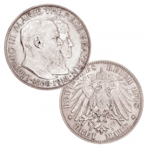 "Königreich Bayern 3 Mark 1918 ""Goldene Hochzeit"", 900er Silber, 16,667g, Ø 33mm, Jaeger-Nr. 54"