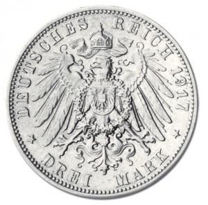Wertseite der Sachsen 3 Mark 1917 Friedrich der Weise