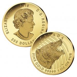 Kanada 200 Dollars 2016 Roaring Grizzly, 999,99er Gold, 31,103 Gramm ( 1 Unze), Ø 30mm, Polierte Platte (Proof), Auflage: 250