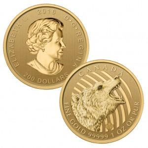 Kanada 200 Dollars 2016 Roaring Grizzly, 999,99er Gold, 31,103 Gramm ( 1 Unze), Ø 30mm, prägefrisch (Bullion)