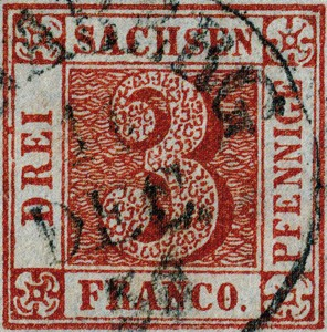 Sachsen Drei Pfennige 1850 – Mi.Nr. 1
