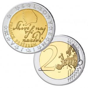 Sloweniens 2 Euro-Kursmünze ehrt Prešeren