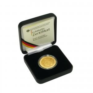 Deutschlands 100 Euro-Goldmünzen werden je im Etui mit Echtheitszertifikat ausgegeben