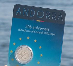 Jetzt ausgegeben: Andorra 2 Euro Gedenkmünze 2014. Foto der Münze in Stempelglanz in Coincard