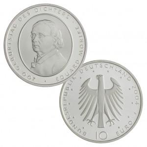 BRD 10 Euro 2004 200. Geburtstag des Dichters Eduard Mörike, 925er Silber, 18g, Ø 32,5mm, Prägestätte F (Stuttgart), st Auflage: 1.800.000, PP Auflage: 300.000, Jaeger-Nr. 508