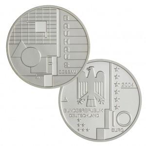 BRD 10 Euro 2004 Bauhaus Dessau, 925er Silber, 18g, Ø 32,5mm, Prägestätte A (Berlin), st Auflage: 1.800.000, PP Auflage: 300.000, Jaeger-Nr. 505