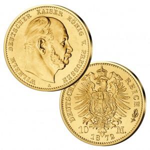 Königreich Preußen 10 M 1872 Wilhelm I., 900er Gold, 3,982 Gramm, Ø 19,5mm, Jaeger-Nr. 242