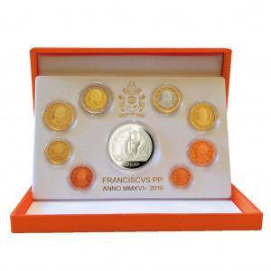 """Vatikan Kursmünzensatz 2016 PP mit 20 Euro Silbermünze """"Jahr der Barmherzigkeit"""""""