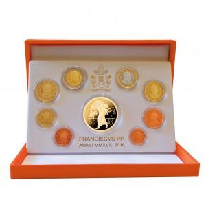 """Vatikan Kursmünzensatz 2016 PP mit 50 Euro Goldmünze """"Jahr der Barmherzigkeit"""""""