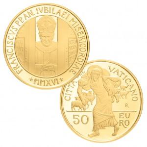 """Vatikan 50 Euro-Goldmünze 2016 """"Heiliges Jahr der Barmherzigkeit"""", 917er Gold, 15g, ø 28mm, PP (aus dem KMS)"""