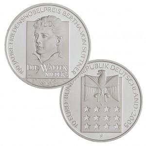 BRD 10 Euro 2005 100. Jahrestag Friedensnobelpreis für Bertha von Suttner, 925er Silber, 18g, Ø 32,5mm, Prägestätte F (Stuttgart), st Auflage: 1.800.000, PP Auflage: 300.000, Jaeger-Nr. 517