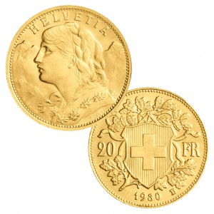 Schweiz 20 Franken (Goldvreneli), 900er Gold, 6,452 Gramm, Ø 21mm