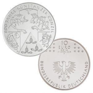 BRD 10 Euro 2014 600 Jahre Konstanzer Konzil, st (CuNi, 14g, Ø 32,5mm), PP (625er Silber, 16g, Ø 32,5mm), Jaeger-Nr. 590