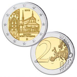 "BRD 2 Euro-Gedenkmünze 2013 ""Bundesländer-Serie: Baden-Württemberg - Kloster Maulbronn"", hier Prägestätte F (Stuttgart)"