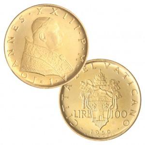 : Stato della Città del Vaticano (Vatikan), Pontifikat Johannes XXIII., 100 Lire 1959, 900er Gold, 5,19g, Auflage: 3.000