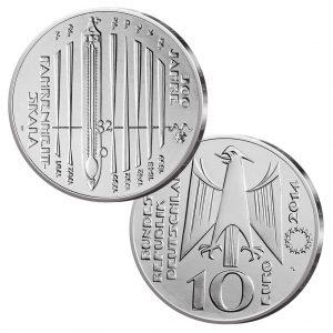 BRD 10 Euro 2014 300 Jahre Fahrenheit-Skala, st (CuNi, 14g, Ø 32,5mm), PP (625er Silber, 16g, Ø 32,5mm), Jaeger-Nr. 592