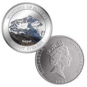 "Cook Islands 1 Dollar 2009 ""Naturwunder – Mount Everest"", CuNi versilbert, mit Farbmotiv, 27g, © 40mm, PL (Proof Like)"