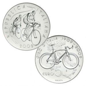 """Italien 5 Euro 2009 """"""""100 Jahre Giro D'Italia"""", 925er Silber, 18g, Ø 32mm, st, Auflage 14.000"""