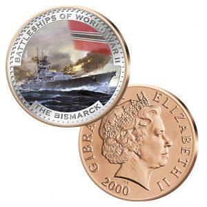 """Gibraltar 2 Pence mit Farbmotiv """"Bismarck"""""""