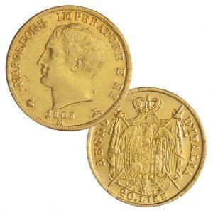 Königreich Italien 20 Lire 1805–1814 Napoleon, 900er Gold, 6,451g, Ø 21mm