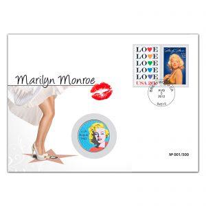 """Numisbrief """"50. Todestag von Marilyn Monroe"""", inkl. amtlichen US-Briefmarken """"Marilyn Monroe"""" und """"Love"""", US-Stempel von Brentwood (Sterbeort) 5. August 2012 (50. Todestag), US-Half-Dollar-Münze mit Monroe-Portrait veredelt"""