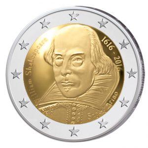 """San Marino 2 Euro-Gedenkmünze 2016 """"400. Todestag Shakespeares"""""""