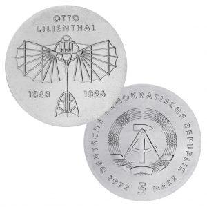 DDR 5 Mark 1973 125. Geburtstag Otto Lilienthal, Neusilber (CuZnNi), 12,2g, Ø 29mm, Prägestätte A (Berlin), Auflage 100.300, Jaeger-Nr. 1546