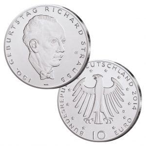 BRD 10 Euro 2014 150. Geburtstag Richard Strauss, st (CuNi, 14g, Ø 32,5mm), PP (625er Silber, 16g, Ø 32,5mm), Jaeger-Nr. 588