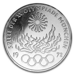 10 DM 1972 Olympische Sommerspiele 1972 in München/Strahlenspirale - Olympisches Feuer - Olympische Ringe