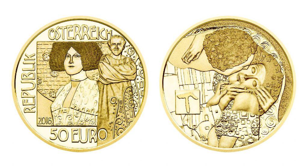 """Österreich 50 Euro 2016 """"Gustav Klimt und die Frauen: Der Kuss"""", 986er Gold, 10,14g, Ø 22mm, im Etui mit Echtheitszertifikat, PP, Auflage: 30.000"""