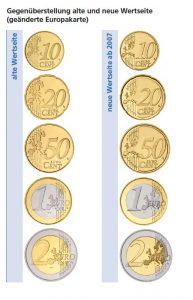 Gegenüberstellung der alten und der neuen Wertseite der Euro-Kursmünzen