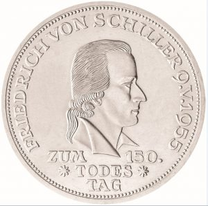 """BRD 5 DM 1955 """"150. Todestag von Friedrich von Schiller"""", 625er Silber, 11,2g, 29mm, Prägestätte F (Stuttgart), Auflage: 198.783, Jaeger-Nr. 389"""