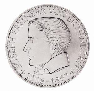 """BRD 5 DM 1957 """"100. Todestag Joseph von Eichendorff"""", 625er Silber, 11,2g, 29mm, Prägestätte J (Hamburg), vz/st, Auflage: 198.000, Jaeger-Nr. 391"""