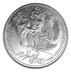 BRD 5 DM 1976 300. Todestag Hans Jacob Christoph von Grimmelshausen, 625er Silber, 11,2g, Ø 29mm, Prägestätte D (München), Jaeger-Nr. 419, Auflage: 7.750.000 (PP: 250.000)