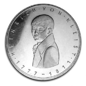BRD 5 DM 1977 200. Geburtstag Heinrich von Kleist, 625er Silber, 11,2g, Ø 29mm, Prägestätte G (Karlsruhe), Jaeger-Nr. 421, Auflage: 7.741.080 (PP: 258.920)