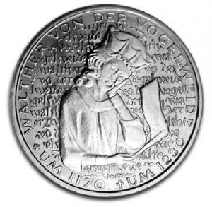 BRD 5 DM 1980 750. Todestag Walter von der Vogelweide, Magnimat, 10g, Ø 29mm, Prägestätte D (München), Jaeger-Nr. 427, Auflage: 5.000.000 (PP: 350.000)