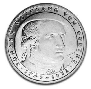 BRD 5 DM 1982 150. Todestag Johann Wolfgang von Goethe, Magnimat, 10g, Ø 29mm, Prägestätte D (München), Jaeger-Nr. 432, Auflage: 8.000.000 (PP: 350.000)