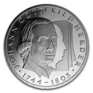 BRD 10 DM 1994 250. Geburtstag von Johann Gottfried Herder, 625er Silber, 15,5g, Ø 32,5mm, Prägestätte G (Karlsruhe), Jaeger-Nr. 458, Auflage: 7.000.000 (PP: 450.000)