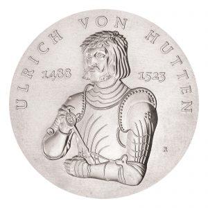 DDR 10 Mark 1988 500. Geburtstag von Ulrich von Hutten, 500er Silber, 17g, Ø 31mm, Prägestätte A (Berlin), Auflage: 37.000 (PP: 3.000), Jaeger-Nr. 1622