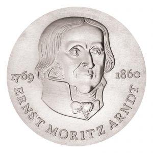 DDR, 20 Mark 1985 125. Todestag Ernst Moritz Arndt, 500er Silber, 20.9g, Ø 33mm, Prägestätte A (Berlin), Auflage: 35.900 (PP: 4.500), Jaeger-Nr. 1605
